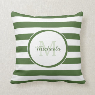 Casual Wide Stripes With Monogrammed Name in Green Throw Pillow