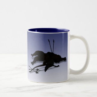 Casualty of Love (Cupid's Down - add  text) Two-Tone Coffee Mug