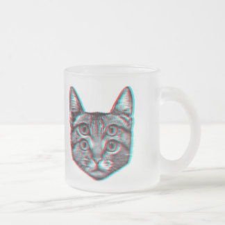 Cat 3d,3d cat,black and white cat frosted glass coffee mug