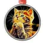 Cat 3d artworks metal ornament