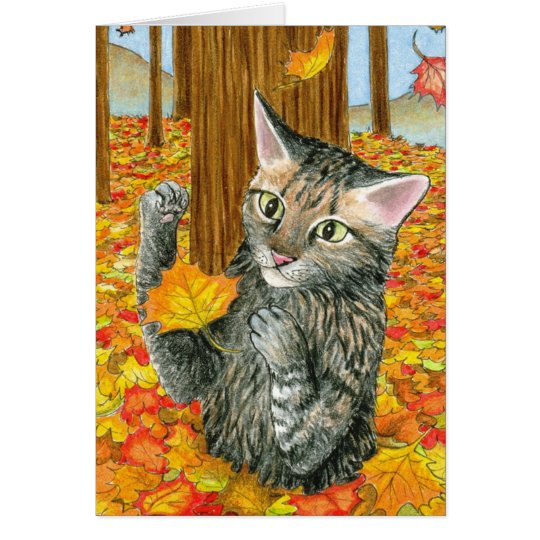 Cat 440 fall autumn Greeting Card