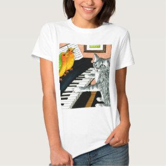 Cat 457 playing Birds Piano T Shirt