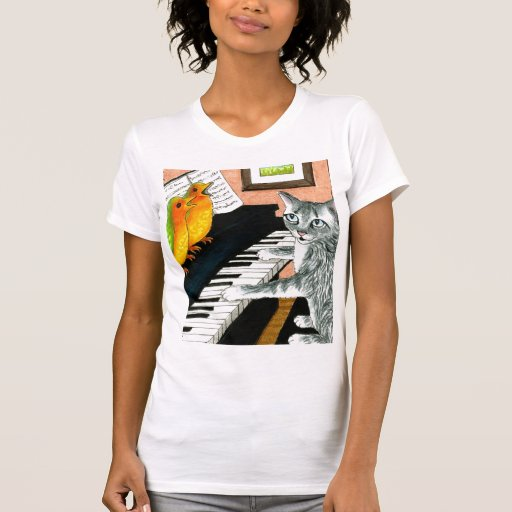 Cat Playing Piano and Birds Singing T-Shirt
