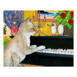 Cat 506 playing piano poster