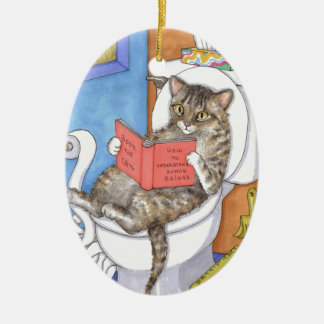 Cat 535 Double-Sided oval ceramic christmas ornament