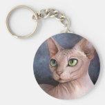 Cat 578 Sphynx Basic Round Button Keychain