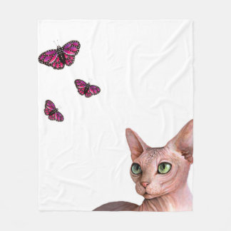 Cat 578 Sphynx Fleece Blanket