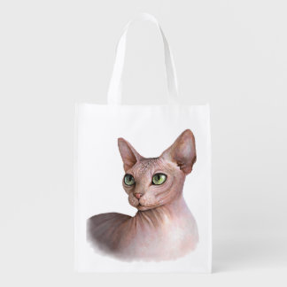 Cat 578 Sphynx white background Reusable Grocery Bag