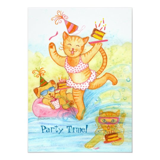 Cat 5th Birthday Pool Party Card