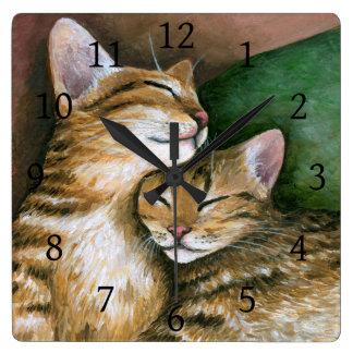 Cat 603 kitten square wall clock