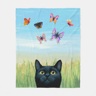 Cat 606 black cat butterflies fleece blanket