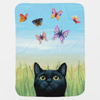 Cat 606 black cat butterflies stroller blanket