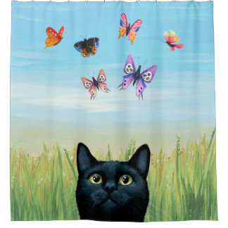 Cat 606 black Cat with butterflies Nature Shower Curtain