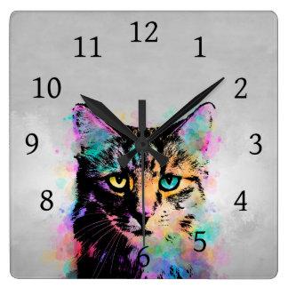 Cat 618 multicolor square wall clock