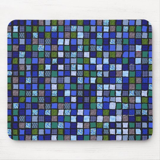 "Cat-A-Copia Custom ""Blue Mosaic"" Mousepad"