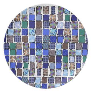 Cat-A-Copia Custom Blue Mosaic Plate