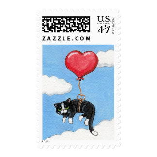 Cat & a Heart Shaped Balloon Postage