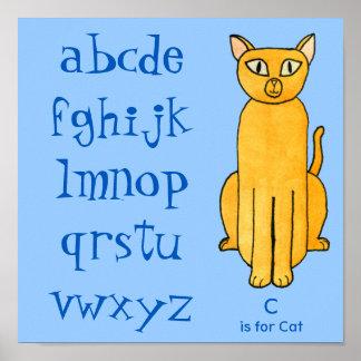 Cat - ABC, Alphabet. Poster