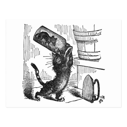Cat About to Smash Bottle with Mouse In It Postcard