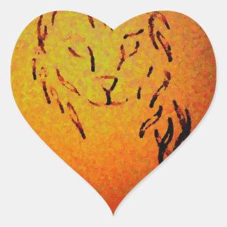 Cat Abstract Art - CricketDiane Heart Sticker