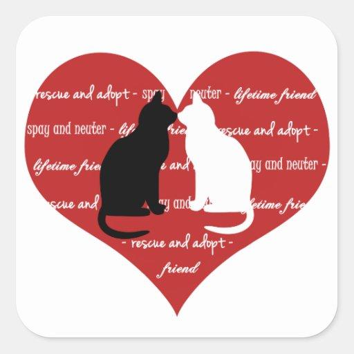 Cat adoption rescue heart  sticker square