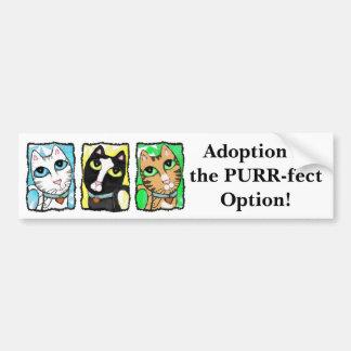 Cat Adoption Triptych Bumper Sticker Car Bumper Sticker