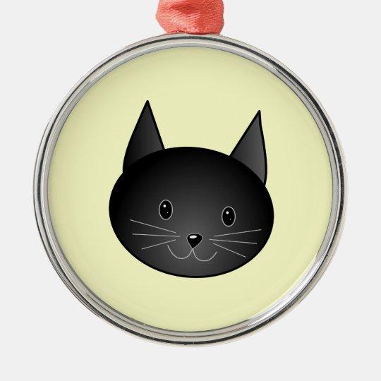 Cat. Adorable black kitty. Metal Ornament