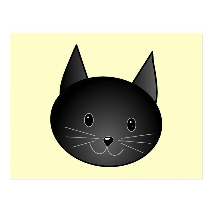Cat. Adorable black kitty. Postcard