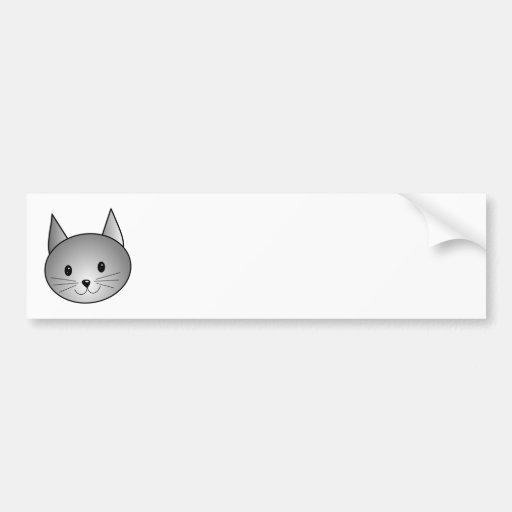Cat. Adorable Gray Kitty Design. Bumper Sticker