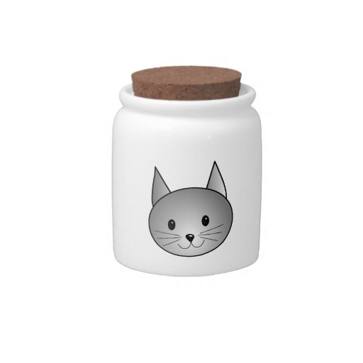 Cat. Adorable Gray Kitty Design. Candy Dishes