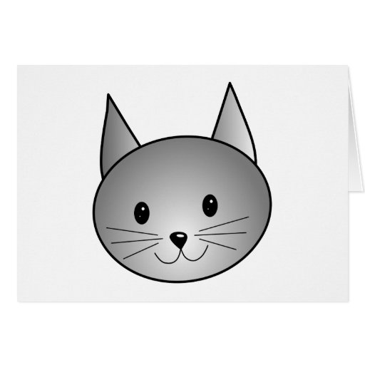 Cat. Adorable Gray Kitty Design. Card