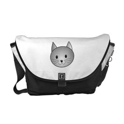 Cat. Adorable Gray Kitty Design. Courier Bags