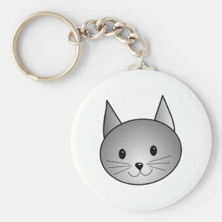 Cat. Adorable Gray Kitty Design. Basic Round Button Keychain