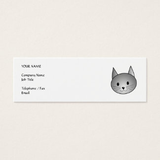 Cat. Adorable Gray Kitty Design. Mini Business Card
