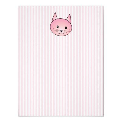 Cat. Adorable pretty pink kitty. Card