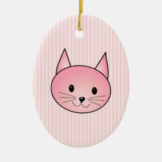 Cat. Adorable pretty pink kitty. Ceramic Ornament