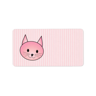 Cat Adorable pretty pink kitty Personalized Address Label