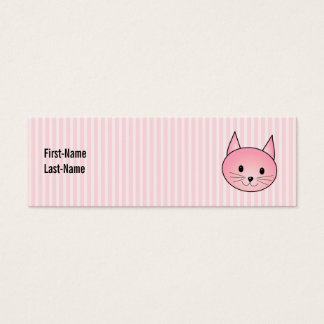 Cat. Adorable pretty pink kitty. Mini Business Card