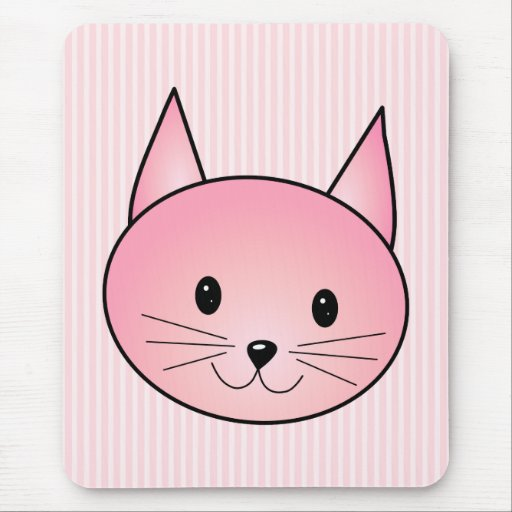 Cat. Adorable pretty pink kitty. Mouse Pad