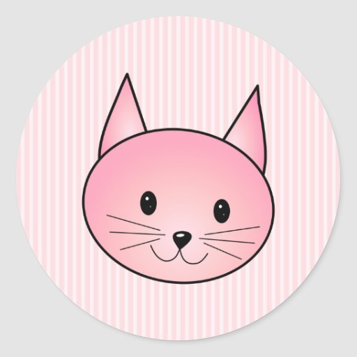 Cat. Adorable pretty pink kitty. Classic Round Sticker