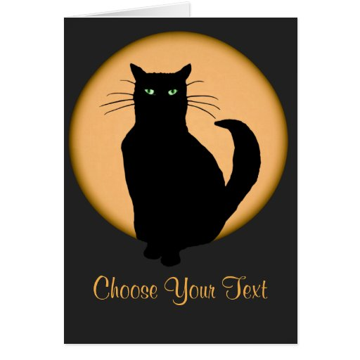 Cat Against the Rising Moon Card