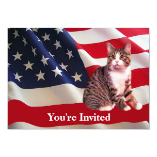Cat All American Party Invitation