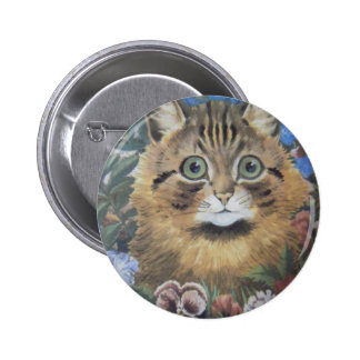 Cat Among the Flowers Louis Wain Artwork Pinback Buttons