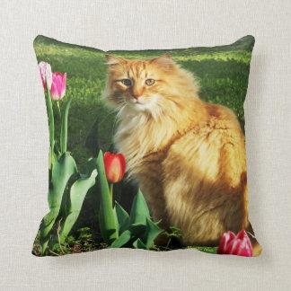 Cat Among Tulips Pillow