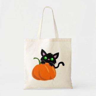 Cat and a Pumpkin Tote Bag