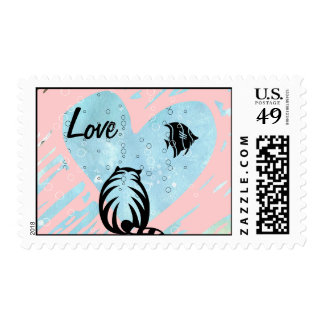 CAT AND ANGEL FISH LOVE STAMP