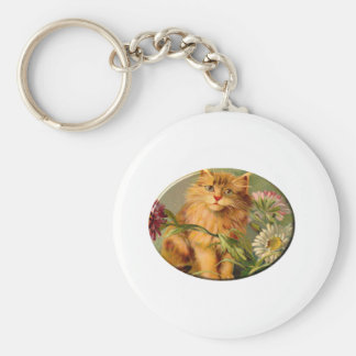 Cat And Asters Keychain