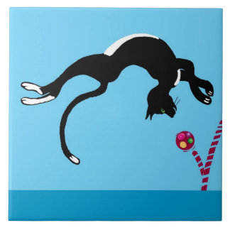 cat and ball large square tile