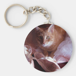 Cat and Ballet Slippers Keychain
