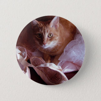 Cat and Ballet Slippers Pinback Button